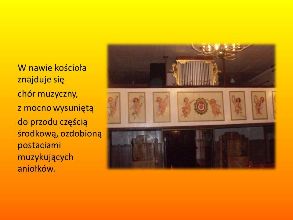 W nawie kościoła znajduje się chór muzyczny, z mocno wysuniętą do przodu częścią środkową, ozdobioną postaciami muzykujących aniołków.