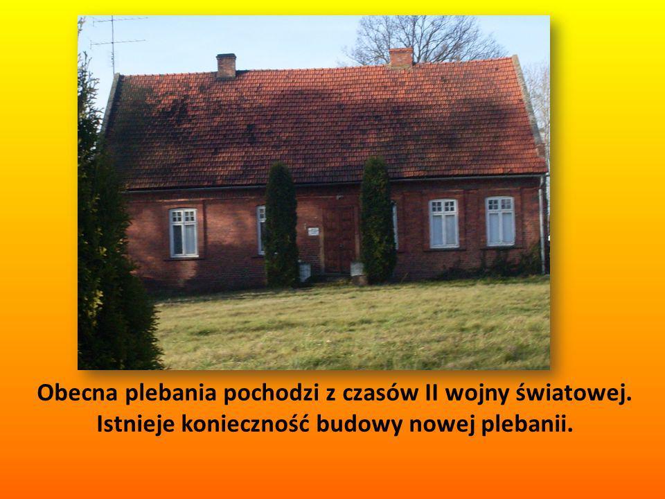 Obecna plebania pochodzi z czasów II wojny światowej. Istnieje konieczność budowy nowej plebanii.