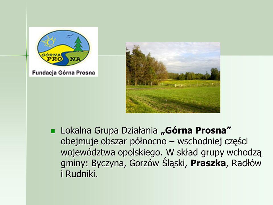 Lokalna Grupa Działania Górna Prosna obejmuje obszar północno – wschodniej części województwa opolskiego.