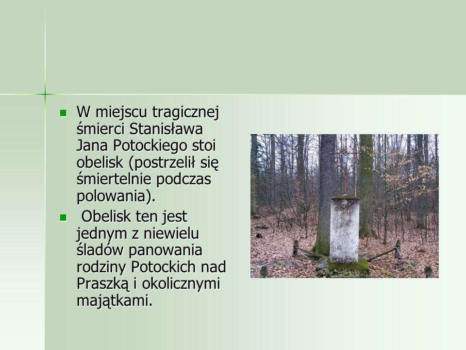 W miejscu tragicznej śmierci Stanisława Jana Potockiego stoi obelisk (postrzelił się śmiertelnie podczas polowania).