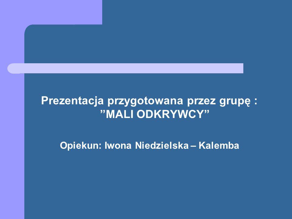 Prezentacja przygotowana przez grupę : MALI ODKRYWCY Opiekun: Iwona Niedzielska – Kalemba
