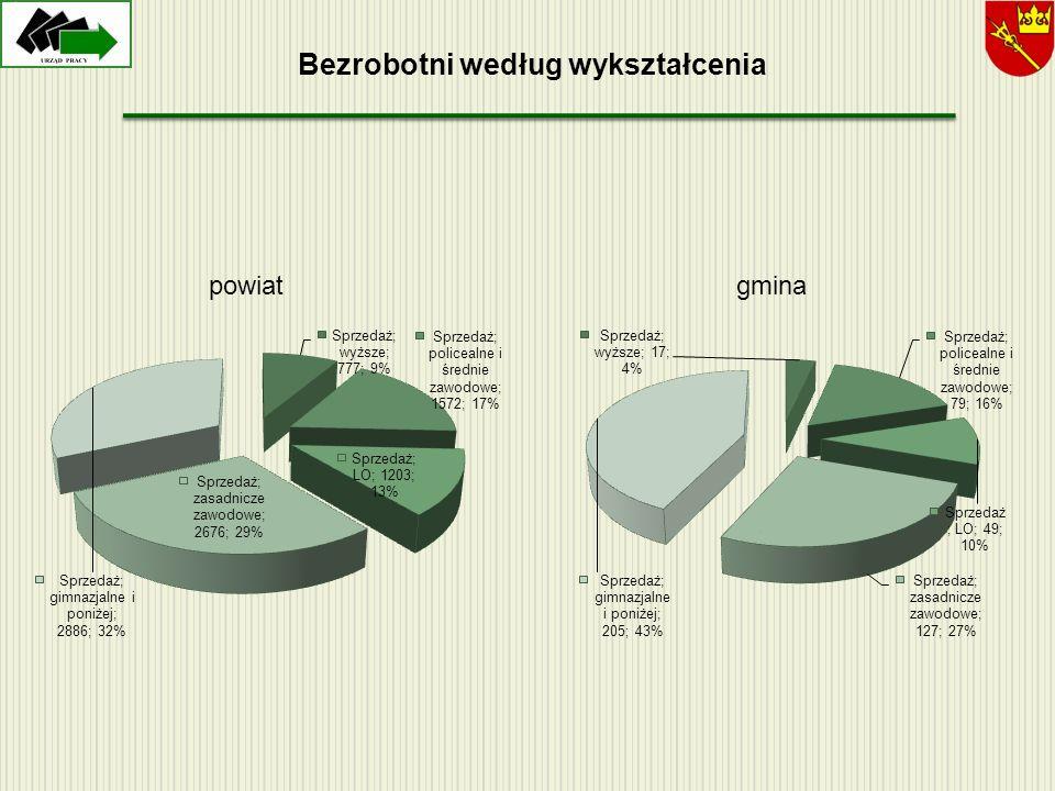 Bezrobotni według wykształcenia powiatgmina