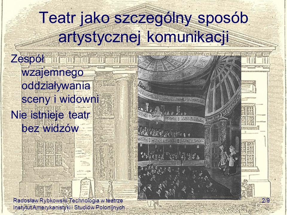 Radosław Rybkowski: Technologia w teatrze Instytut Amerykanistyki i Studiów Polonijnych 2/9 Teatr jako szczególny sposób artystycznej komunikacji Zesp