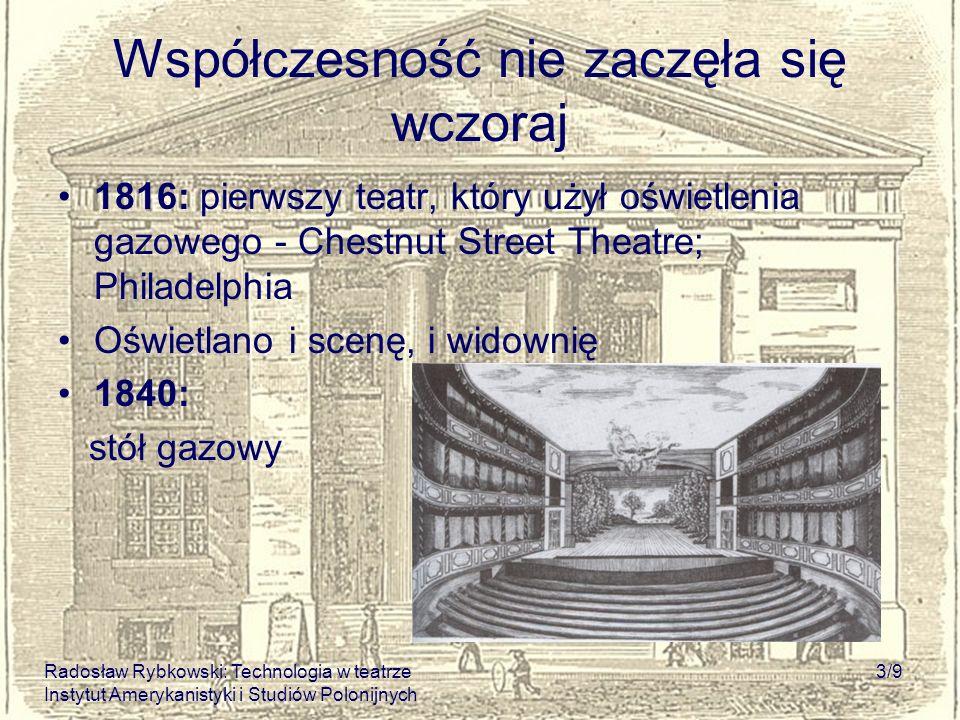Radosław Rybkowski: Technologia w teatrze Instytut Amerykanistyki i Studiów Polonijnych 3/9 Współczesność nie zaczęła się wczoraj 1816: pierwszy teatr