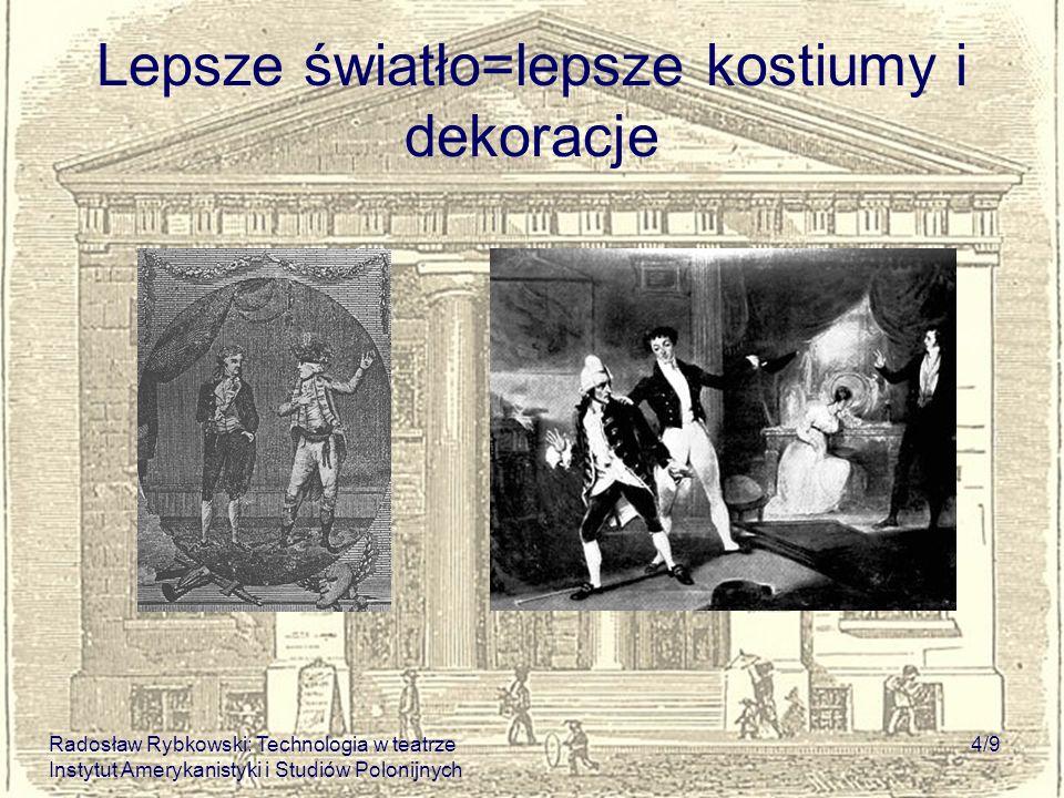 Radosław Rybkowski: Technologia w teatrze Instytut Amerykanistyki i Studiów Polonijnych 4/9 Lepsze światło=lepsze kostiumy i dekoracje
