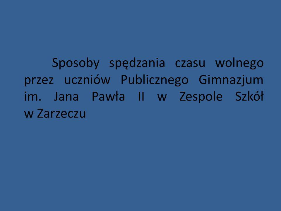 Sposoby spędzania czasu wolnego przez uczniów Publicznego Gimnazjum im. Jana Pawła II w Zespole Szkół w Zarzeczu