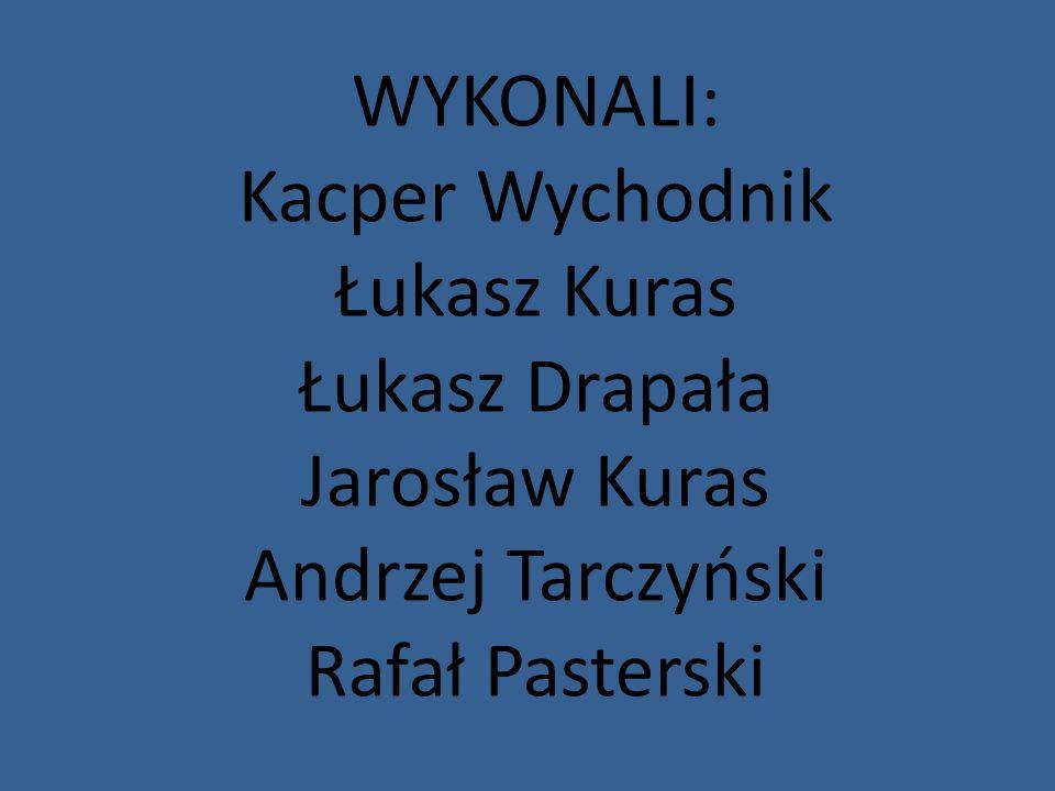 WYKONALI: Kacper Wychodnik Łukasz Kuras Łukasz Drapała Jarosław Kuras Andrzej Tarczyński Rafał Pasterski
