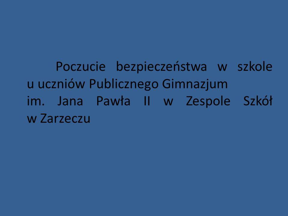Poczucie bezpieczeństwa w szkole u uczniów Publicznego Gimnazjum im. Jana Pawła II w Zespole Szkół w Zarzeczu