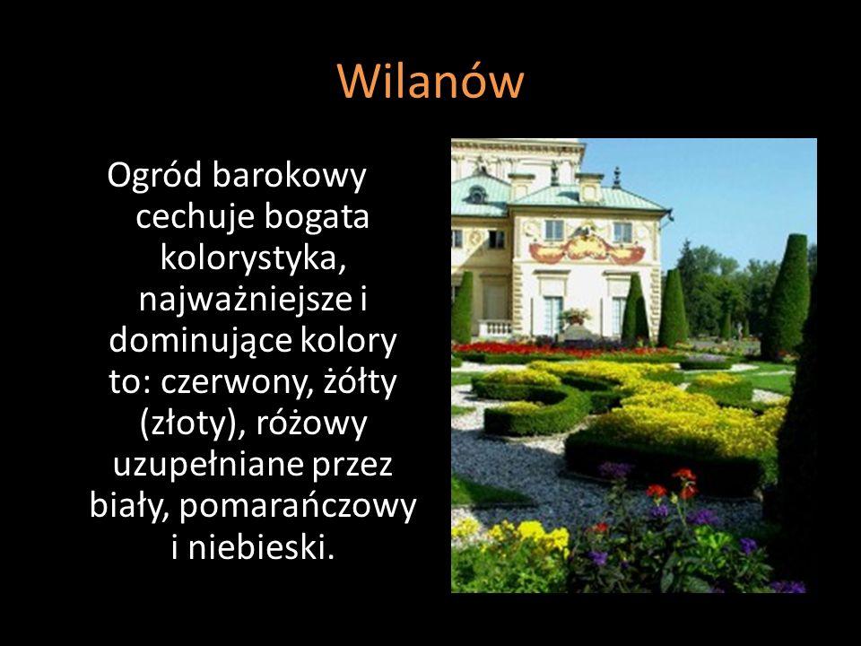 Ogród barokowy cechuje bogata kolorystyka, najważniejsze i dominujące kolory to: czerwony, żółty (złoty), różowy uzupełniane przez biały, pomarańczowy