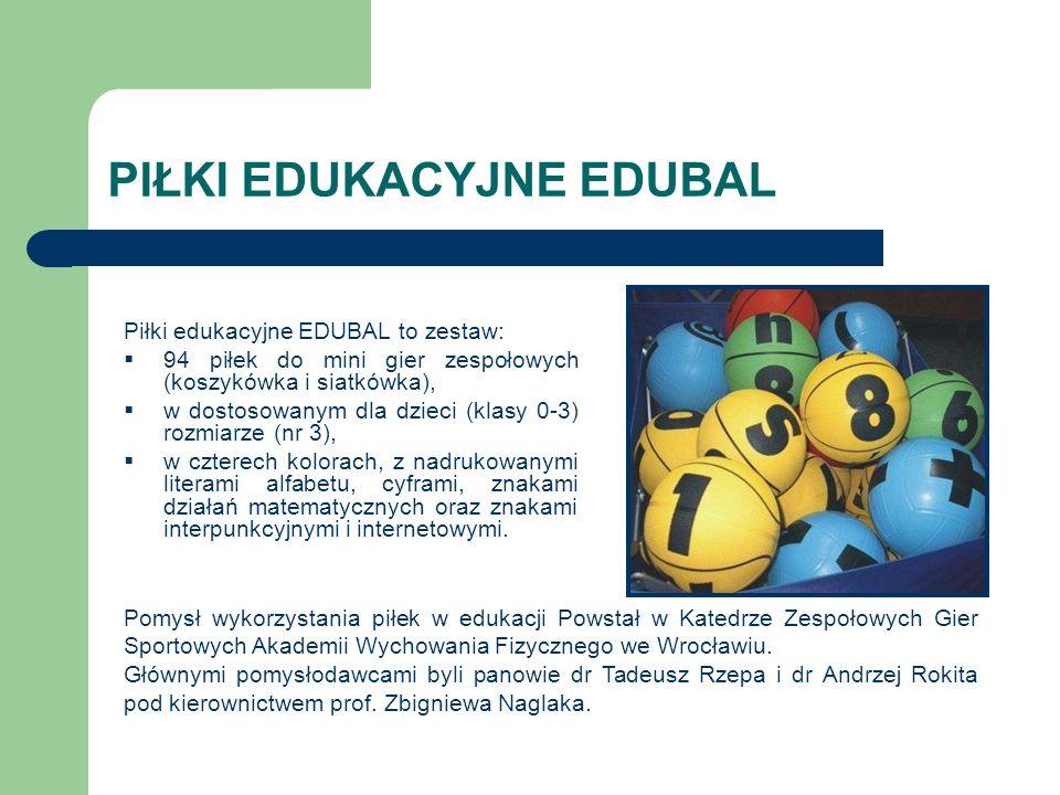 Piłki edukacyjne EDUBAL to zestaw: 94 piłek do mini gier zespołowych (koszykówka i siatkówka), w dostosowanym dla dzieci (klasy 0-3) rozmiarze (nr 3),
