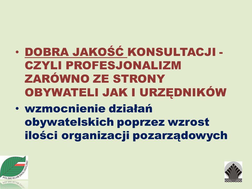 DOBRA JAKOŚĆ KONSULTACJI - CZYLI PROFESJONALIZM ZARÓWNO ZE STRONY OBYWATELI JAK I URZĘDNIKÓW wzmocnienie działań obywatelskich poprzez wzrost ilości organizacji pozarządowych