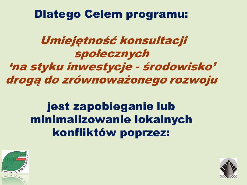 Dlatego Celem programu: Umiejętność konsultacji społecznych na styku inwestycje - środowisko drogą do zrównoważonego rozwoju jest zapobieganie lub min