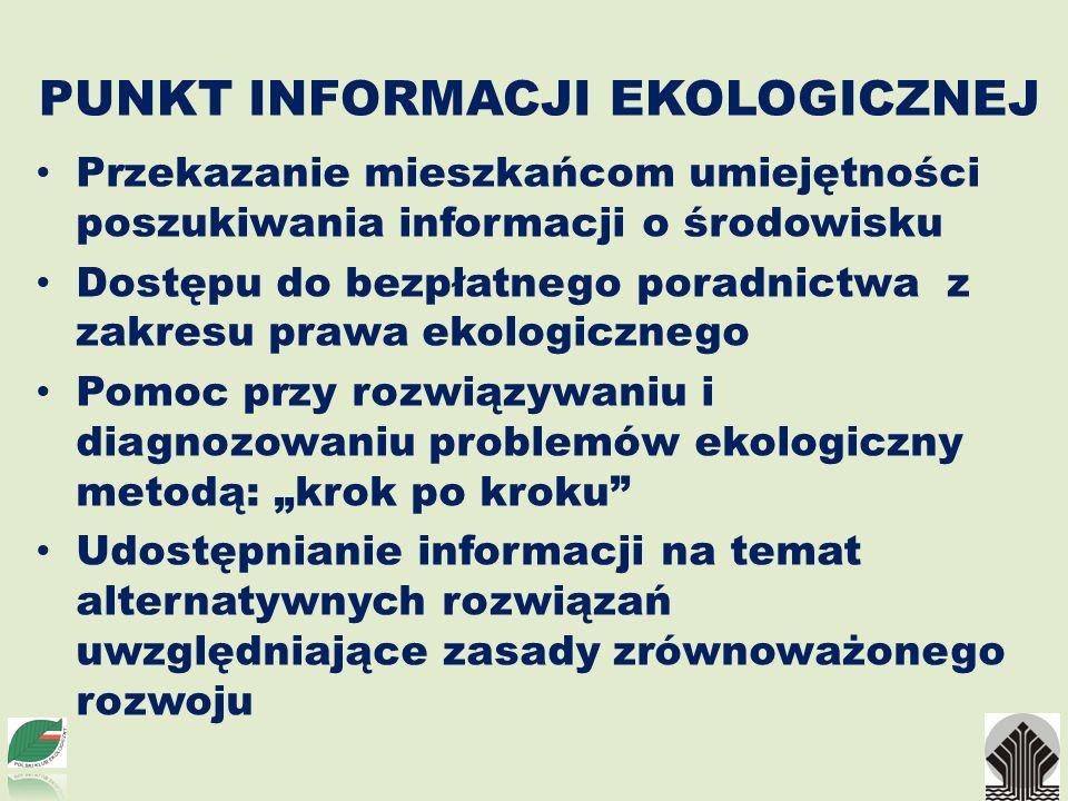 PUNKT INFORMACJI EKOLOGICZNEJ Przekazanie mieszkańcom umiejętności poszukiwania informacji o środowisku Dostępu do bezpłatnego poradnictwa z zakresu p