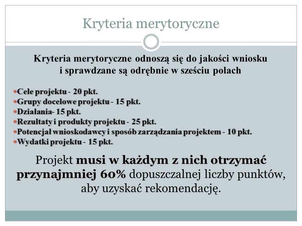 Kryteria merytoryczne Kryteria merytoryczne odnoszą się do jakości wniosku i sprawdzane są odrębnie w sześciu polach Cele projektu20 pkt.