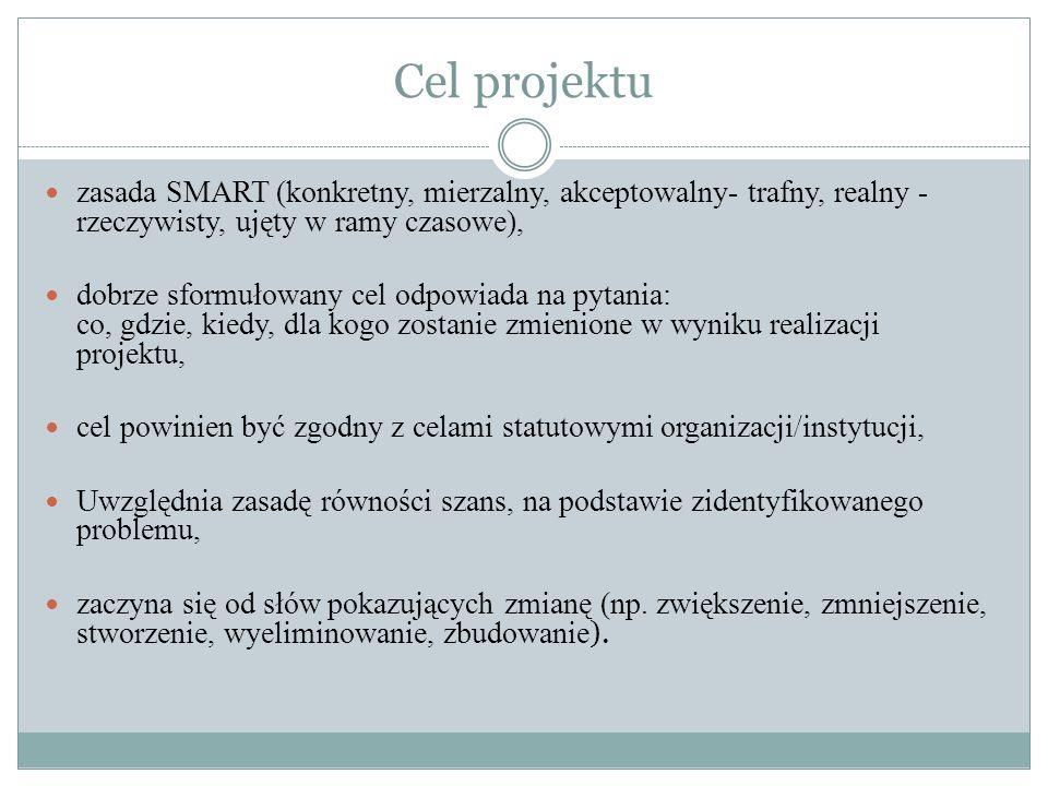 Logika projektu Ciąg przyczynowo - skutkowy Możliwy do realizacji Spójny wewnętrznie (poszczególne elementy) Zgodny z założeniami PO KL