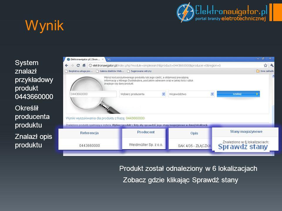 Wynik System znalazł przykładowy produkt 0443660000 Określił producenta produktu Znalazł opis produktu Produkt został odnaleziony w 6 lokalizacjach Zobacz gdzie klikając Sprawdź stany