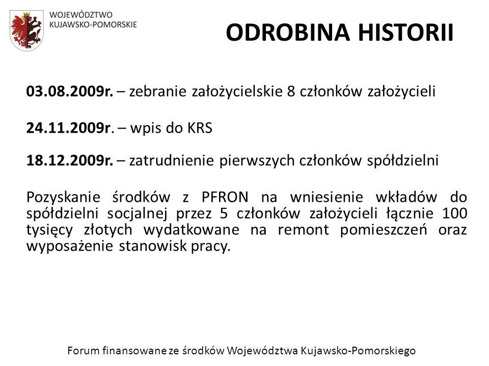 Forum finansowane ze środków Województwa Kujawsko-Pomorskiego ODROBINA HISTORII 03.08.2009r. – zebranie założycielskie 8 członków założycieli 24.11.20