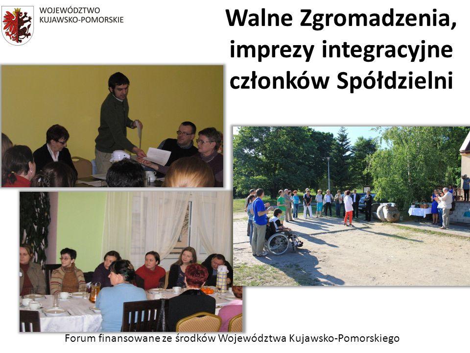 Forum finansowane ze środków Województwa Kujawsko-Pomorskiego Walne Zgromadzenia, imprezy integracyjne członków Spółdzielni