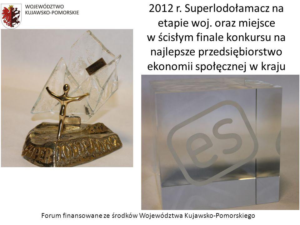 Forum finansowane ze środków Województwa Kujawsko-Pomorskiego 2012 r. Superlodołamacz na etapie woj. oraz miejsce w ścisłym finale konkursu na najleps