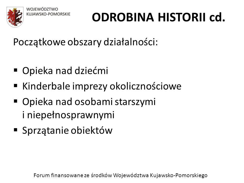 Forum finansowane ze środków Województwa Kujawsko-Pomorskiego ODROBINA HISTORII cd. Początkowe obszary działalności: Opieka nad dziećmi Kinderbale imp