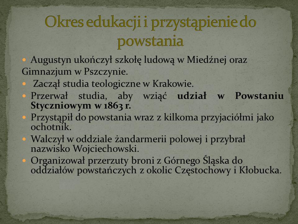 Augustyn ukończył szkołę ludową w Miedźnej oraz Gimnazjum w Pszczynie. Zaczął studia teologiczne w Krakowie. Przerwał studia, aby wziąć udział w Powst