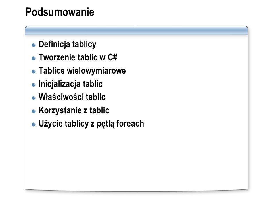 Podsumowanie Definicja tablicy Tworzenie tablic w C# Tablice wielowymiarowe Inicjalizacja tablic Właściwości tablic Korzystanie z tablic Użycie tablic