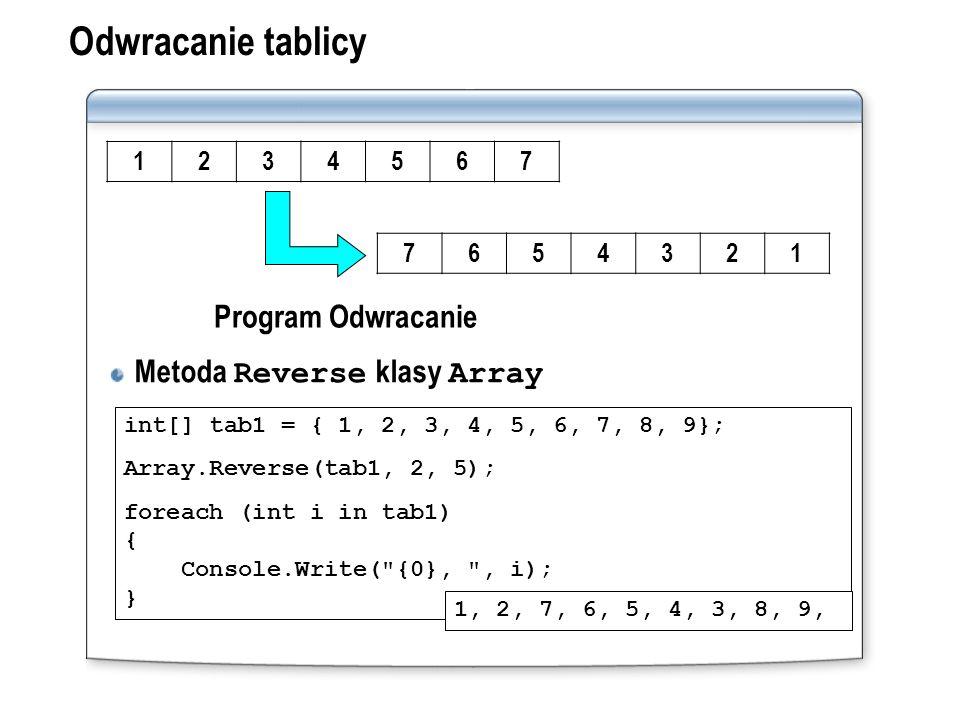 Odwracanie tablicy Metoda Reverse klasy Array int[] tab1 = { 1, 2, 3, 4, 5, 6, 7, 8, 9}; Array.Reverse(tab1, 2, 5); foreach (int i in tab1) { Console.