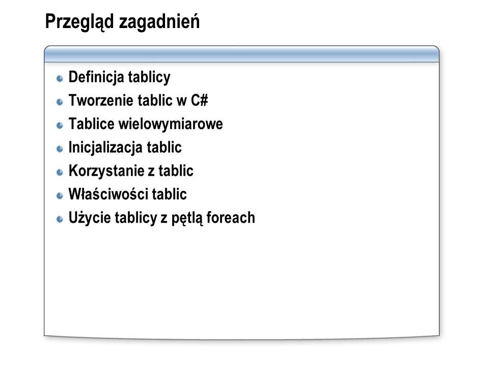 Przegląd zagadnień Definicja tablicy Tworzenie tablic w C# Tablice wielowymiarowe Inicjalizacja tablic Korzystanie z tablic Właściwości tablic Użycie
