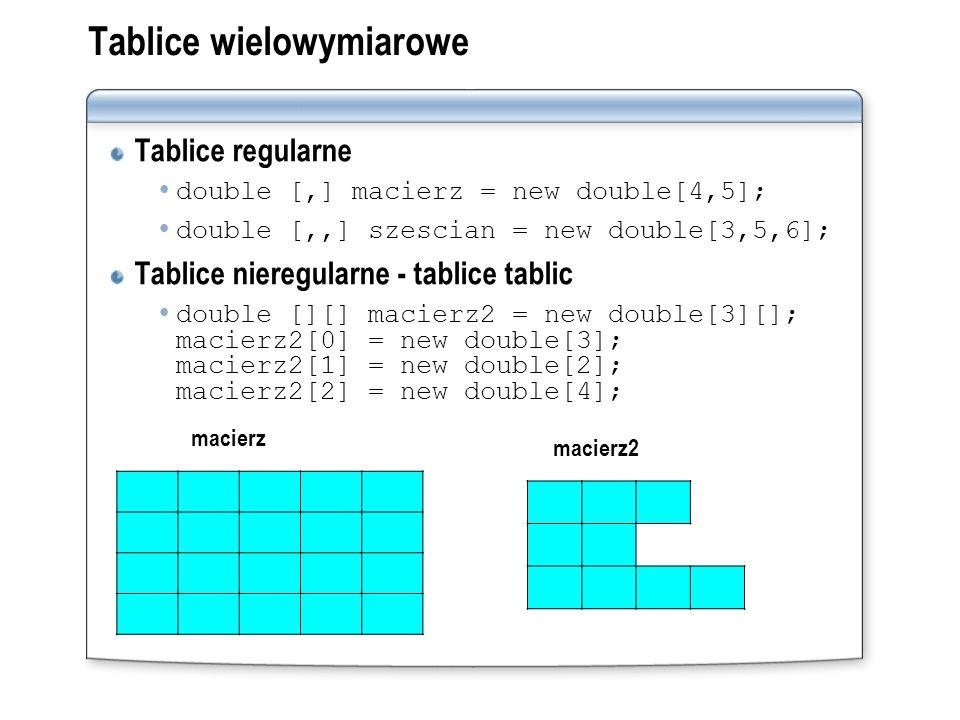 Tablice wielowymiarowe Tablice regularne double [,] macierz = new double[4,5]; double [,,] szescian = new double[3,5,6]; Tablice nieregularne - tablic