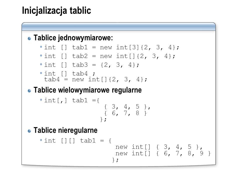 Inicjalizacja tablic Tablice jednowymiarowe: int [] tab1 = new int[3]{2, 3, 4}; int [] tab2 = new int[]{2, 3, 4}; int [] tab3 = {2, 3, 4}; int [] tab4