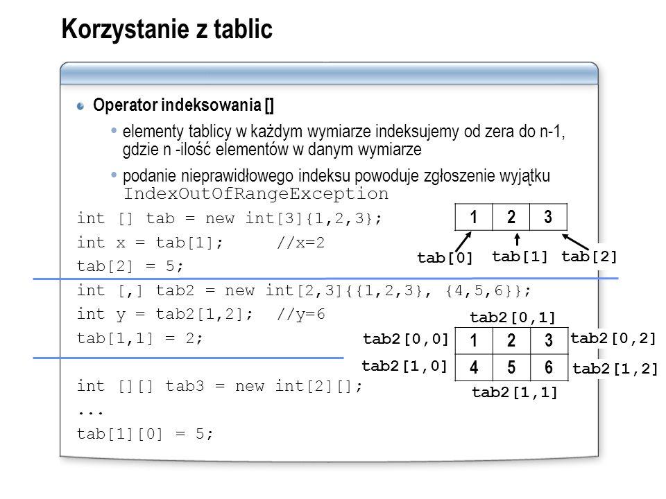 Korzystanie z tablic Operator indeksowania [] elementy tablicy w każdym wymiarze indeksujemy od zera do n-1, gdzie n -ilość elementów w danym wymiarze