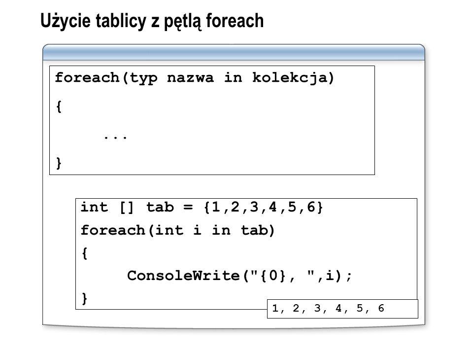 Użycie tablicy z pętlą foreach foreach(typ nazwa in kolekcja) {... } int [] tab = {1,2,3,4,5,6} foreach(int i in tab) { ConsoleWrite(