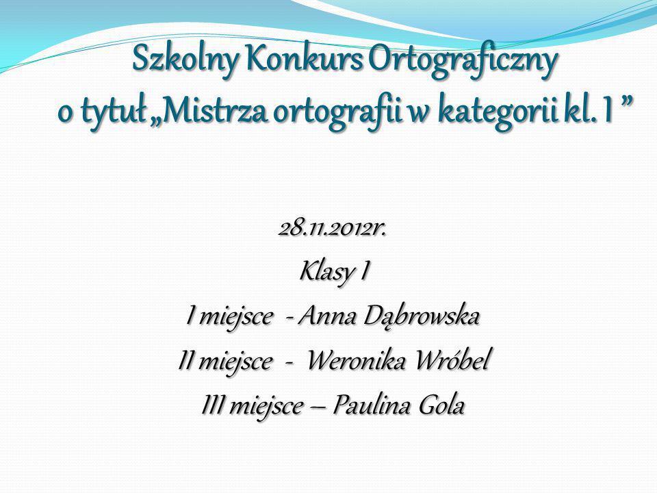 Szkolny Konkurs Ortograficzny o tytuł Mistrza ortografii w kategorii kl. I Szkolny Konkurs Ortograficzny o tytuł Mistrza ortografii w kategorii kl. I