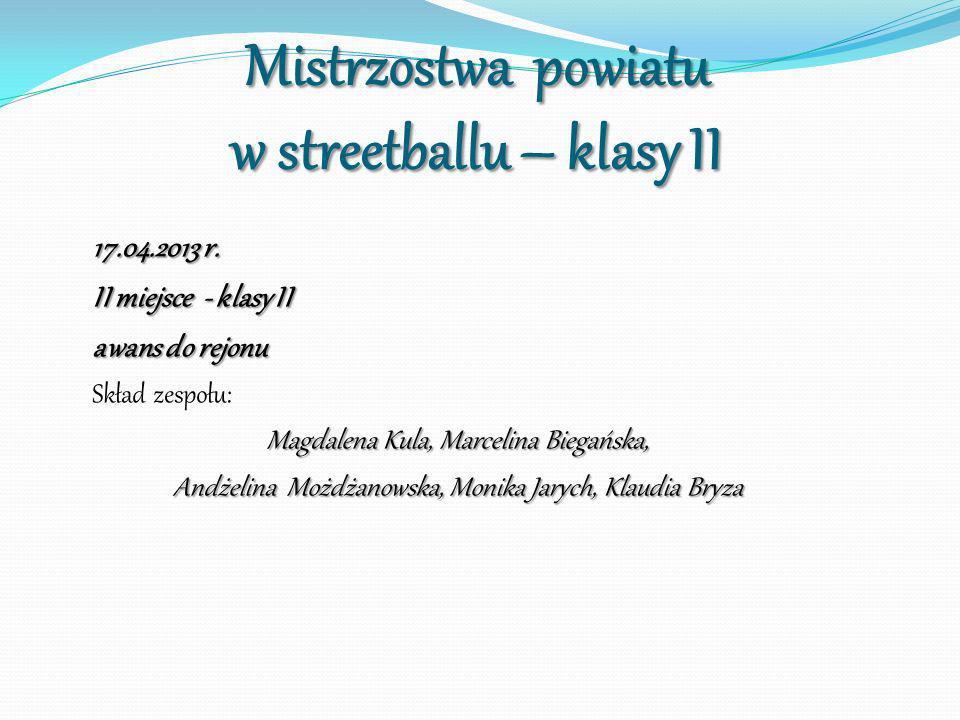 Mistrzostwa powiatu w streetballu – klasy II 17.04.2013 r. II miejsce - klasy II awans do rejonu Skład zespołu: Magdalena Kula, Marcelina Biegańska, A