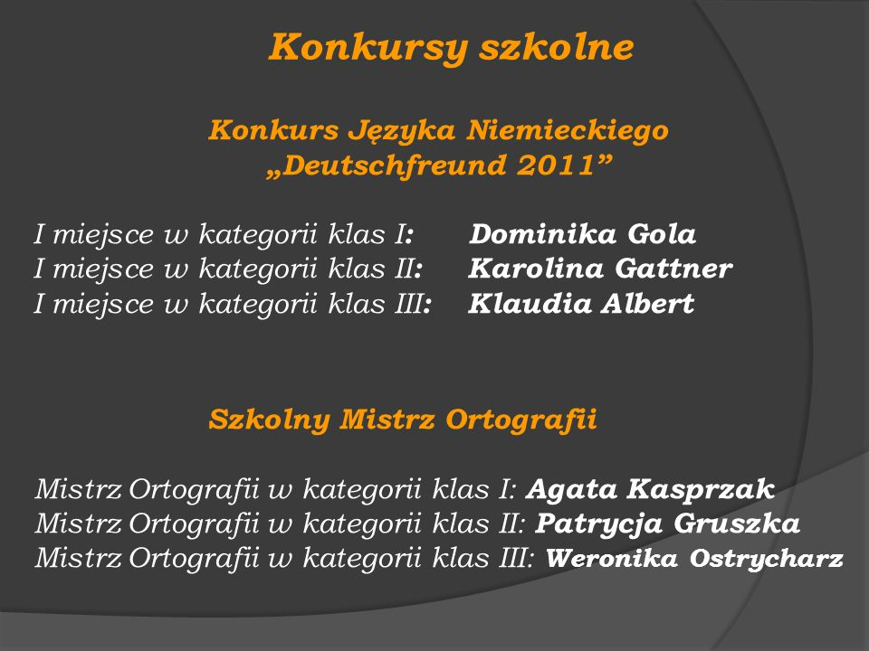 Konkursy szkolne Konkurs Języka Niemieckiego Deutschfreund 2011 I miejsce w kategorii klas I : Dominika Gola I miejsce w kategorii klas II : Karolina