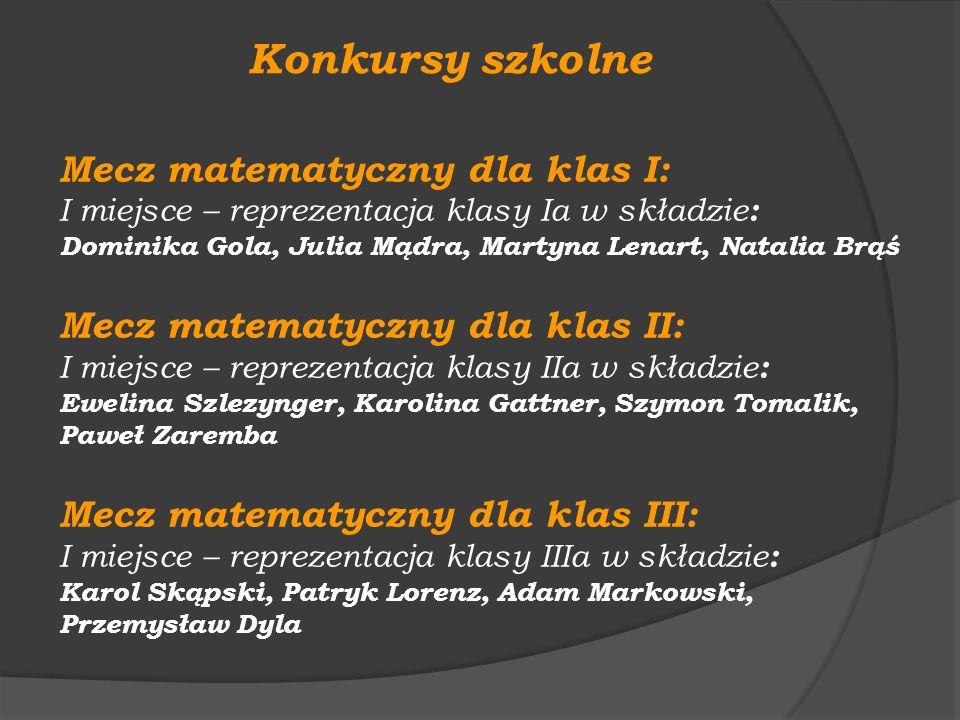 Mecz matematyczny dla klas I: I miejsce – reprezentacja klasy Ia w składzie : Dominika Gola, Julia Mądra, Martyna Lenart, Natalia Brąś Mecz matematycz