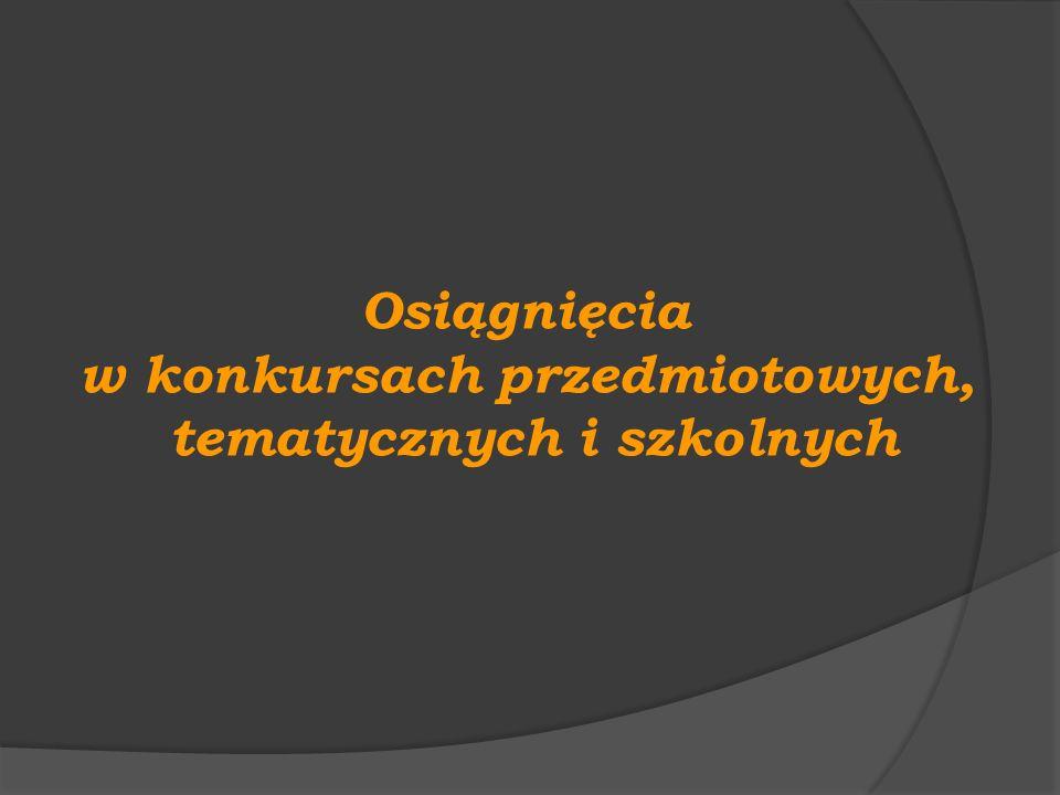 Konkursy szkolne Konkurs Języka Niemieckiego Deutschfreund 2011 I miejsce w kategorii klas I : Dominika Gola I miejsce w kategorii klas II : Karolina Gattner I miejsce w kategorii klas III : Klaudia Albert Szkolny Mistrz Ortografii Mistrz Ortografii w kategorii klas I: Agata Kasprzak Mistrz Ortografii w kategorii klas II: Patrycja Gruszka Mistrz Ortografii w kategorii klas III: Weronika Ostrycharz