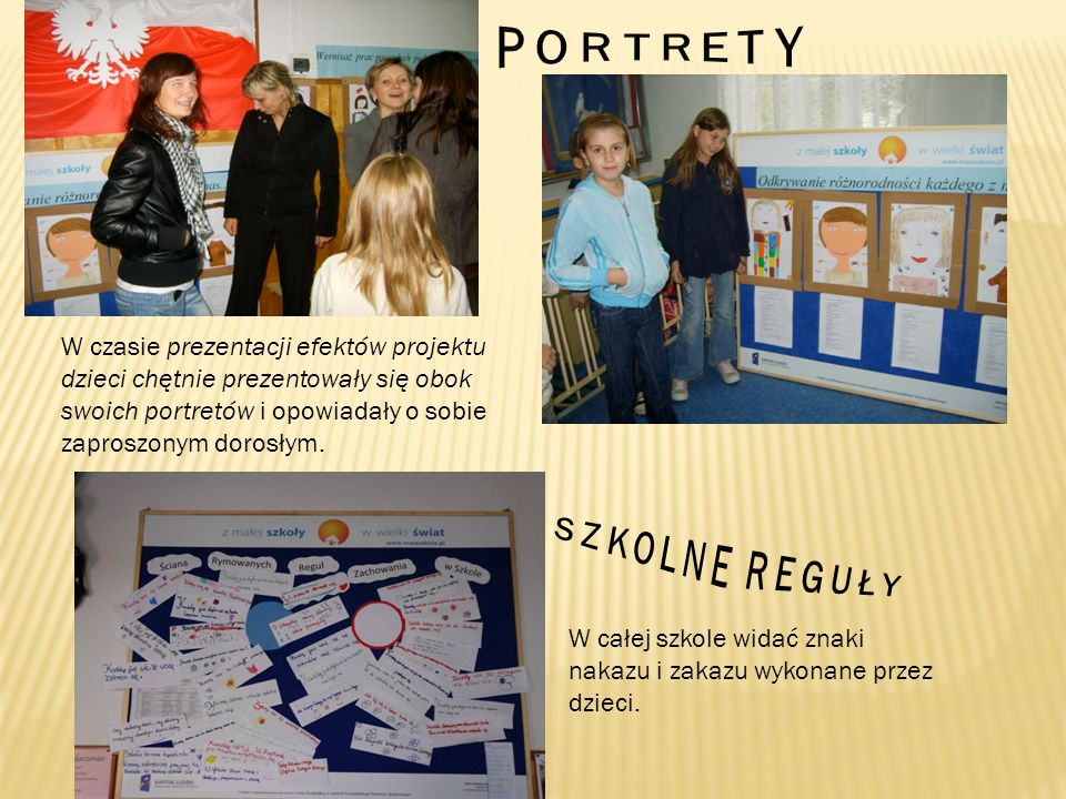 W czasie prezentacji efektów projektu dzieci chętnie prezentowały się obok swoich portretów i opowiadały o sobie zaproszonym dorosłym. W całej szkole