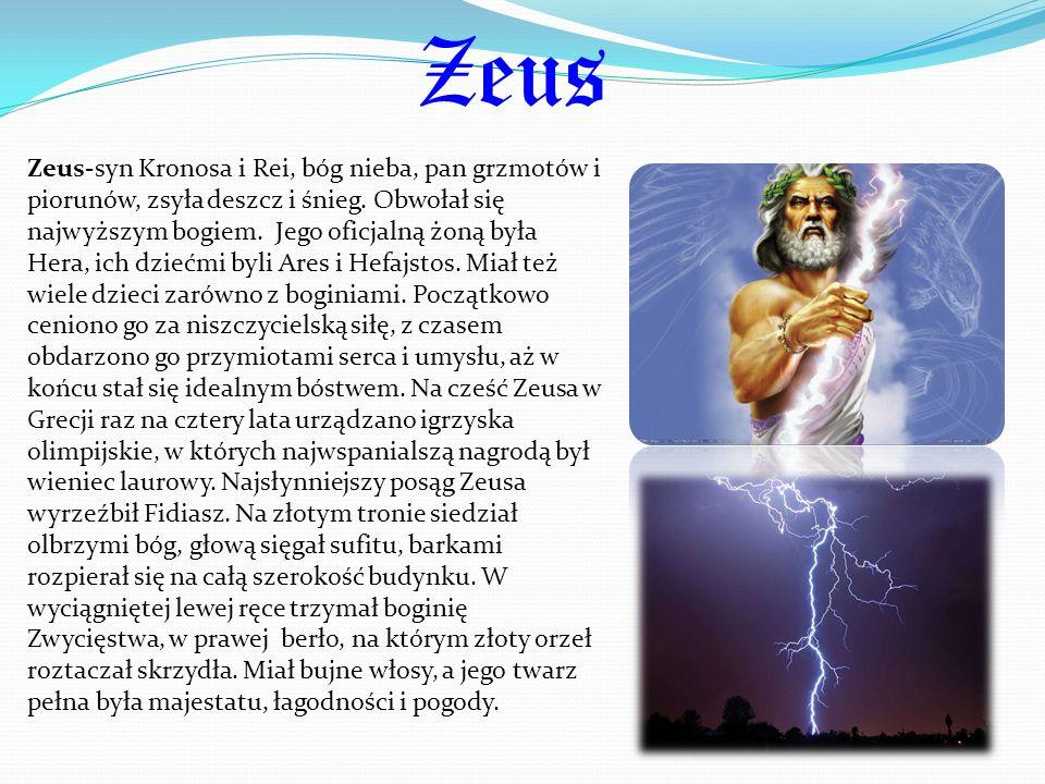 Zeus Zeus-syn Kronosa i Rei, bóg nieba, pan grzmotów i piorunów, zsyła deszcz i śnieg. Obwołał się najwyższym bogiem. Jego oficjalną żoną była Hera, i
