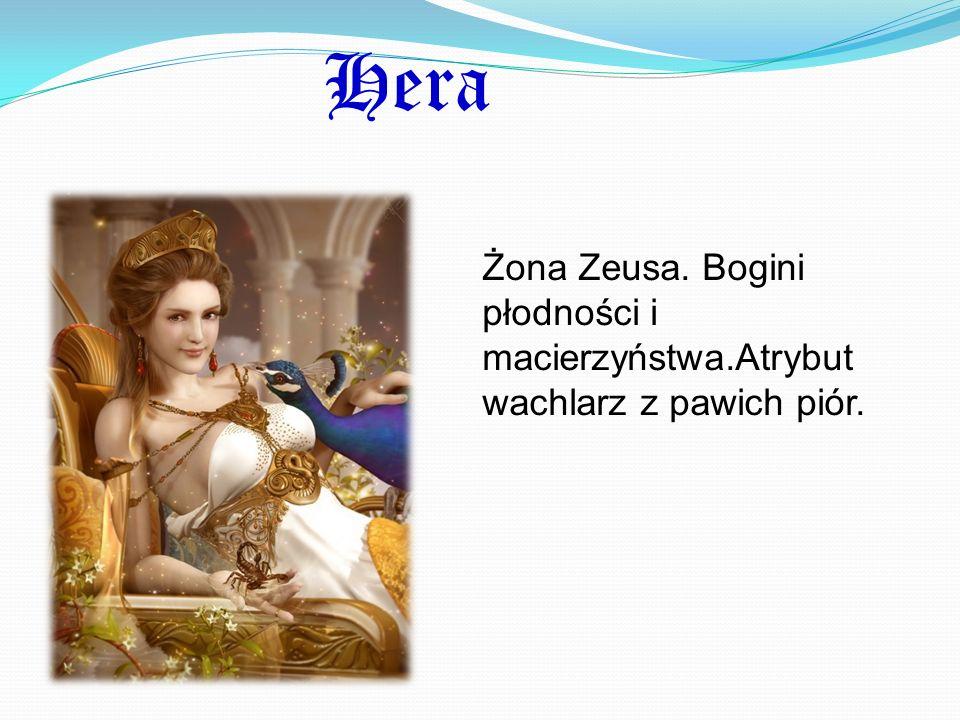 Hera Żona Zeusa. Bogini płodności i macierzyństwa.Atrybut wachlarz z pawich piór.
