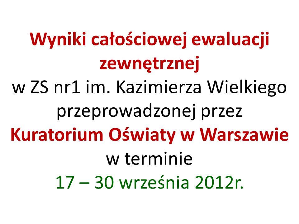 Wyniki całościowej ewaluacji zewnętrznej w ZS nr1 im. Kazimierza Wielkiego przeprowadzonej przez Kuratorium Oświaty w Warszawie w terminie 17 – 30 wrz