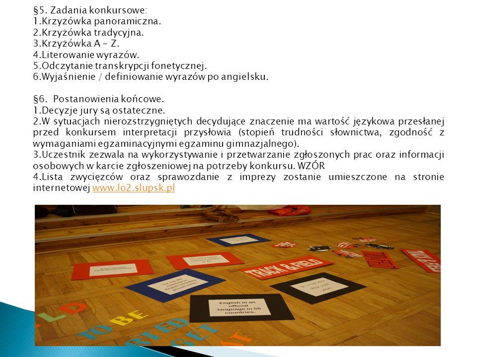 §5. Zadania konkursowe: 1.Krzyżówka panoramiczna.