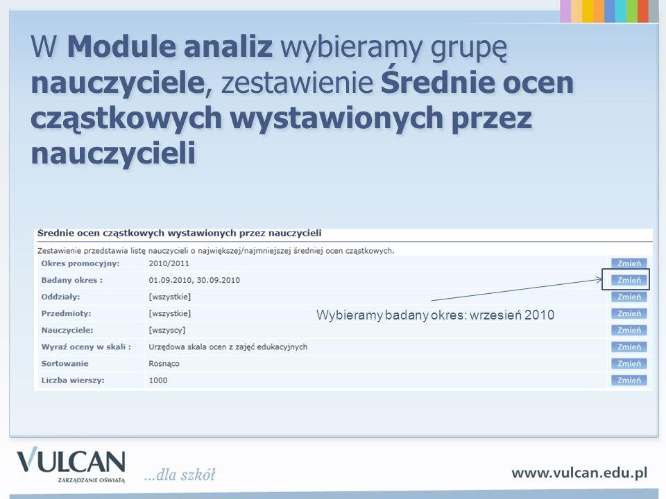 W Module analiz wybieramy grupę nauczyciele, zestawienie Średnie ocen cząstkowych wystawionych przez nauczycieli Wybieramy badany okres: wrzesień 2010