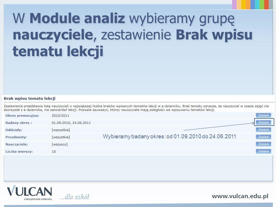 W Module analiz wybieramy grupę nauczyciele, zestawienie Brak wpisu tematu lekcji Wybieramy badany okres: od 01.09.2010 do 24.06.2011