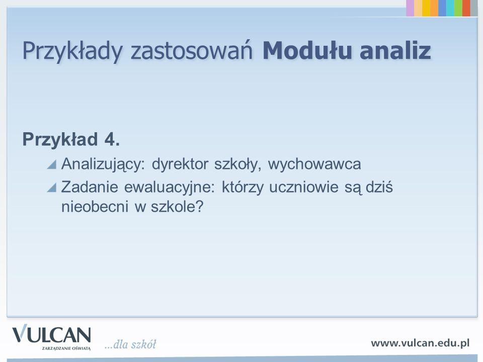 Przykłady zastosowań Modułu analiz Przykład 4. Analizujący: dyrektor szkoły, wychowawca Zadanie ewaluacyjne: którzy uczniowie są dziś nieobecni w szko