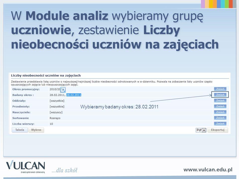 W Module analiz wybieramy grupę uczniowie, zestawienie Liczby nieobecności uczniów na zajęciach Wybieramy badany okres: 28.02.2011