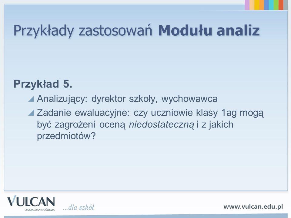 Przykłady zastosowań Modułu analiz Przykład 5. Analizujący: dyrektor szkoły, wychowawca Zadanie ewaluacyjne: czy uczniowie klasy 1ag mogą być zagrożen