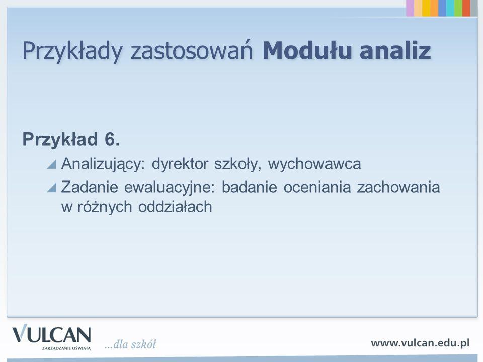Przykłady zastosowań Modułu analiz Przykład 6. Analizujący: dyrektor szkoły, wychowawca Zadanie ewaluacyjne: badanie oceniania zachowania w różnych od