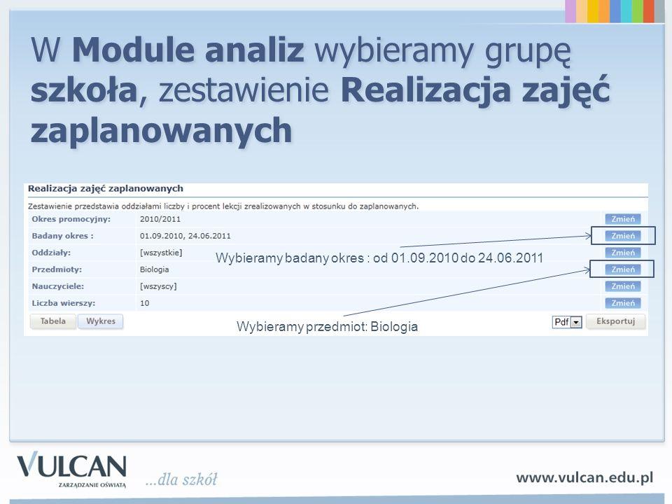 W Module analiz wybieramy grupę szkoła, zestawienie Realizacja zajęć zaplanowanych Wybieramy badany okres : od 01.09.2010 do 24.06.2011 Wybieramy prze
