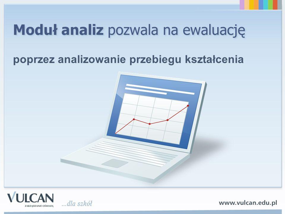 Moduł analiz pozwala na ewaluację poprzez analizowanie przebiegu kształcenia